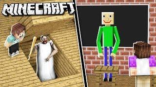 GRANNY vs BALDI'S HOUSE CHALLENGE! (Minecraft Build Off)