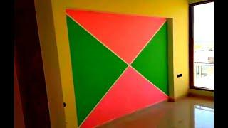Easy and creative wall painting design | Taping Wall Design and Color Combination 2019