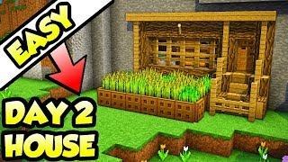 Minecraft SECOND DAY Starter Survival House Tutorial (How to Build)