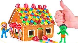 KIDS MAKING A GINGERBREAD HOUSE ❤ SUPERHERO PLAY DOH CARTOONS FOR KIDS