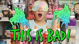 BLINDFOLDED SLIME CHALLENGE! MAKING SLIME BLINDFOLDED