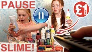 Pause Slime Challenge || Pause Challenge *Cheap £1 Slime Switch Up  | Sis V's Sis | RUBY AND RAYLEE