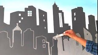 Wall painting city skyline on wall Asian paints