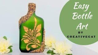 Easy Bottle Art using DIY Stencil/Bottle Decoration/Wine Bottle art/Bottle Craft By CreativeCat