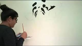 Wall painting with acrylic paints