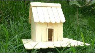 How To Make Mini Hamster House, Popsicle Stick Crafts, DIY House.
