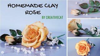 Homemade Airdry Clay Rose with useful tips/ Cold Porcelain Clay Rose/Gumpaste Rose