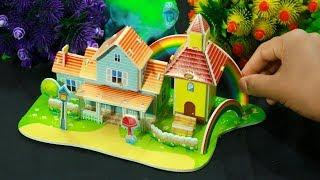 DIY Miniature Rainbow House~Dollhouse Crafts Easy~DIY How To Make Miniature Dollhouse with Cardboard