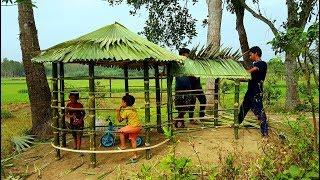 Palm Leaves Peace House Making By Smart Village Boys - Beautiful Green Hut Of Tree Leaves