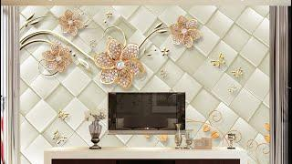 3D living room TV wallpaper design for living room