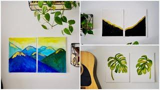 3 Glitter Canvas Painting for Summer Home Decor || Rental friendly wall art || Interior Maata