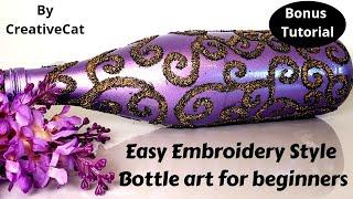 Easy Bottle art/Embroidery style vase/wine bottle craft/art and craft/Craft for beginners