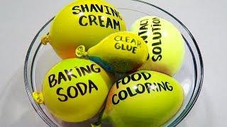 Mixing YELLOW Slime with Balloons | Green Beads and Crunchy Slime