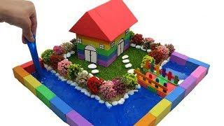How To Make House has a River Surrounded with Kinetic Sand, Slime, Flower Tree