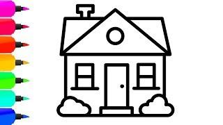 How to Draw a House with Colorful Flower for Kids - House Coloring Page for Children