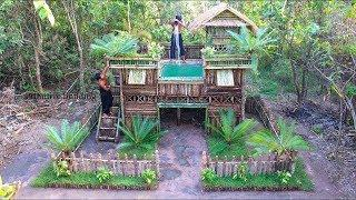 ( Full Video ) Build Double Story Wooden villa Swimming Pool on Villa House  #Primitive_Copy