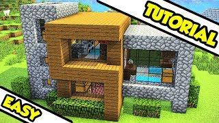 Minecraft EASY Survival Modern House Tutorial (How to Build Design Tour Ideas)