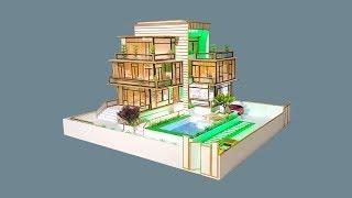 Building Popsicle Stick Mansion House - Popsicle Garden Villa - Architecture - Mode 07