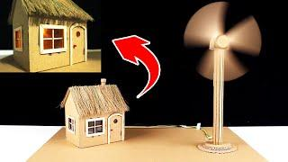 How to make working model of a wind turbine from cardboard house | school project