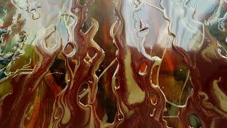 Resin Art/ Port Wine and Molten Gold bush fire!!/ second layer
