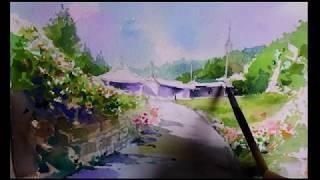 How to paint a rural scene-watercolor painting, 風景水彩画, 수채화그리기,  풍경화그리기
