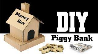 How to Make Piggy Bank Money Saver Cardboard House – DIY Money Box