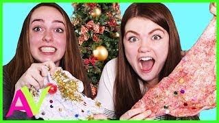 Christmas Slime Making DIY Holiday Slime Challenge / Aud Vlogs