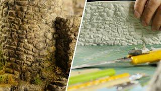 ????Pro Tips |  ????EASY, realistic stone walls with clay!  DIY texture roller????