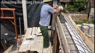 Build House Step By Step-How to Make a Concrete Slab For The Windows of The House