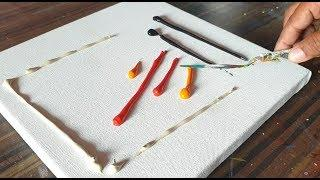 Easy Abstract Painting / Relaxing / Spreading paints on canvas / Demo / Project 365 days / Day #0334