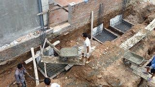 How To Build Reinforced Concrete Pad Footing of Foundation - Building My House Foundation process