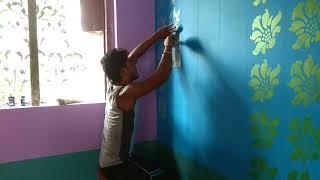 Dulux metallic wall design.. Call me 9775825159
