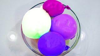Mixing Purple Fluffy Slime with Balloons | Pom Poms Balls and Shaving Foam