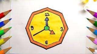Sketching and Coloring for Kids | Drawing and painting a Wall Clock