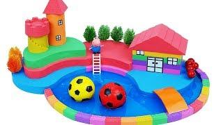 DIY How To Make Garden House with Kinetic Sand Mad Mattr Slime Learn Colors Nursery Rhymes For Kids