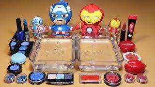"""Theme Series #15 """"Avengers"""" Mixing MAKE UP And glitter Into Clear Slime! """"Avengers Silme"""""""