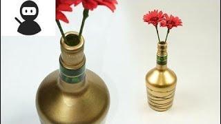 DIY Wine Bottle Craft -  Turn Waste Wine Bottle into Beautiful Flower Vase New 2018