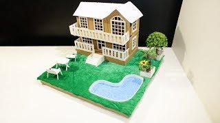 Cardboard House - how to make cardboard house with garden and swimming pool