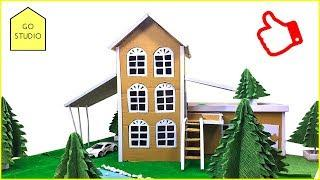 How to make a BEAUTIFUL mansion house with pool from CARDBOARD | Cardboard House - GO - STUDIO