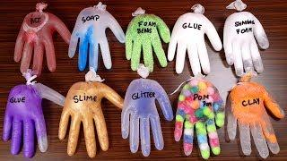 Making Slime With Gloves - Mixing Ingredients - Popping 10-Gloves