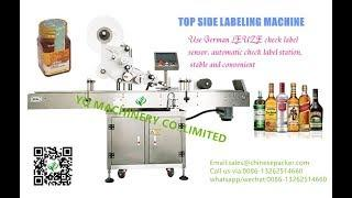 Top labeling machine for Red Wine Whiskey bottle sticker label application equipment
