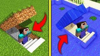 UNDERGROUND SECRET BASE vs UNDERWATER in MINECRAFT? How to built a house Trolling Mods Minecraft