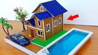 How to make Beautiful Cardboard Villa House with Swimming Pool #79