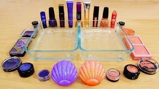 Purple vs Peach - Mixing Makeup Eyeshadow Into Slime! Special Series 98 Satisfying Slime Video