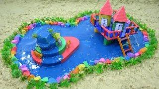 DIY How To Make House on the Water with Kinetic Sand, Mad Mattr, Slime for Kids