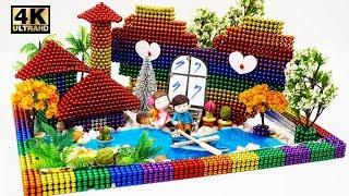DIY Valentine Gift with ~10000 magnetic balls, How to Make Love House | Magnet World 4K