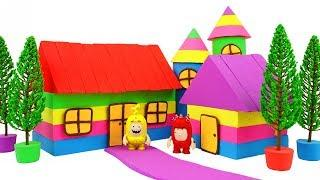 How To Make Rainbow Garden House with Kinetic Sand, Mad Mattr, Model Tree and Oddbods Toys