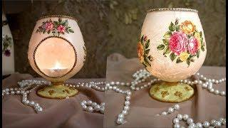 DIY | CANDLE  LIGHT WINE GLASS ,DIY home decor