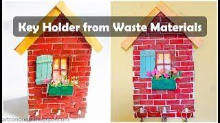 Key Holder Craft Idea from Waste Material|Ice cream stick House Wall Hanging|Reuse of waste material
