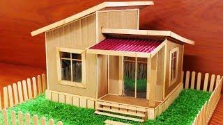 Building Most Beautiful Villa House Make From Cardboard and Popsicle Stick 100%